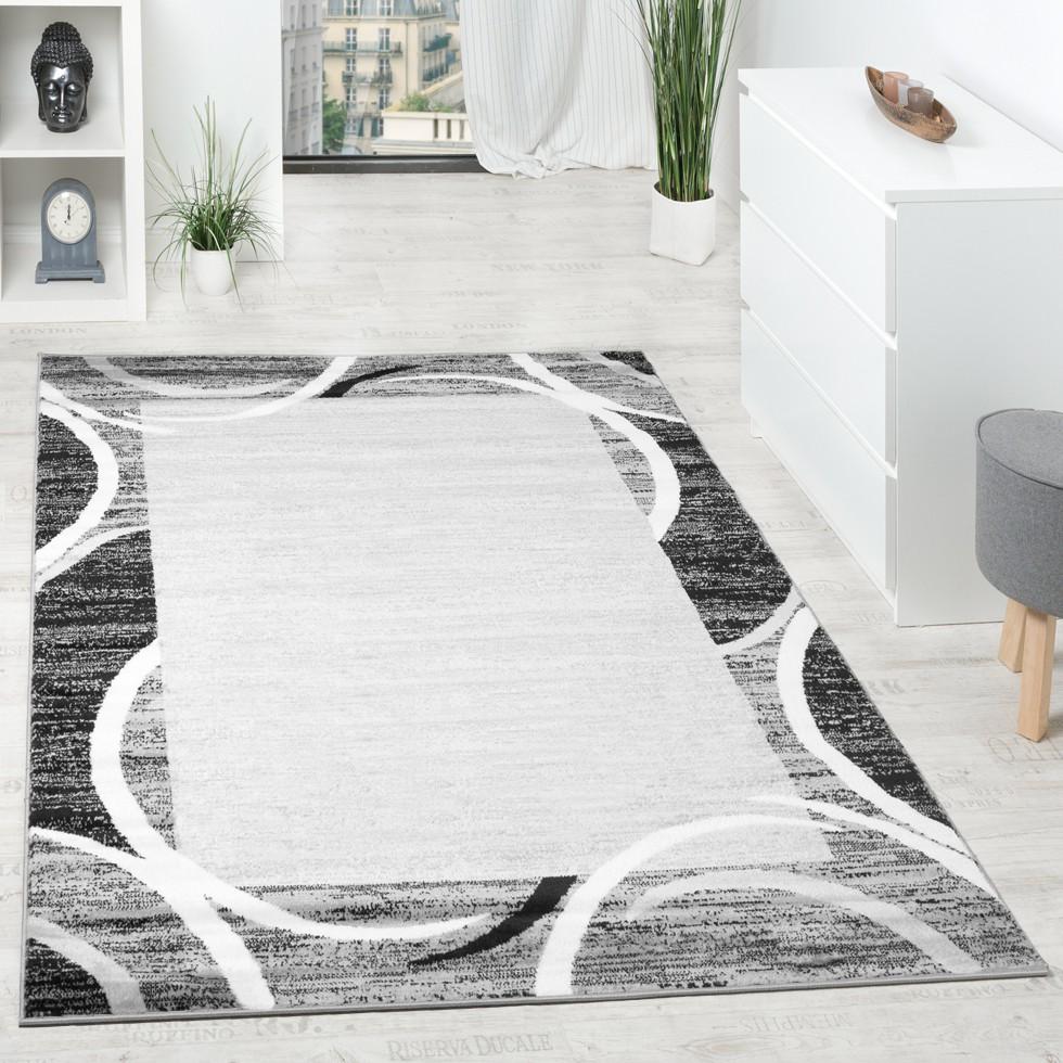 Wohnzimmer Teppich Designer Bordüre Meliert Grau Schwarz Creme Preishammer  1 ...
