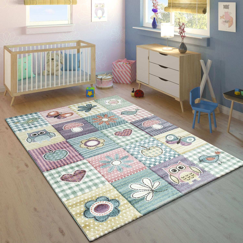 Kinderteppich Kinderzimmer Konturenschnitt Niedliche Motive Pastell