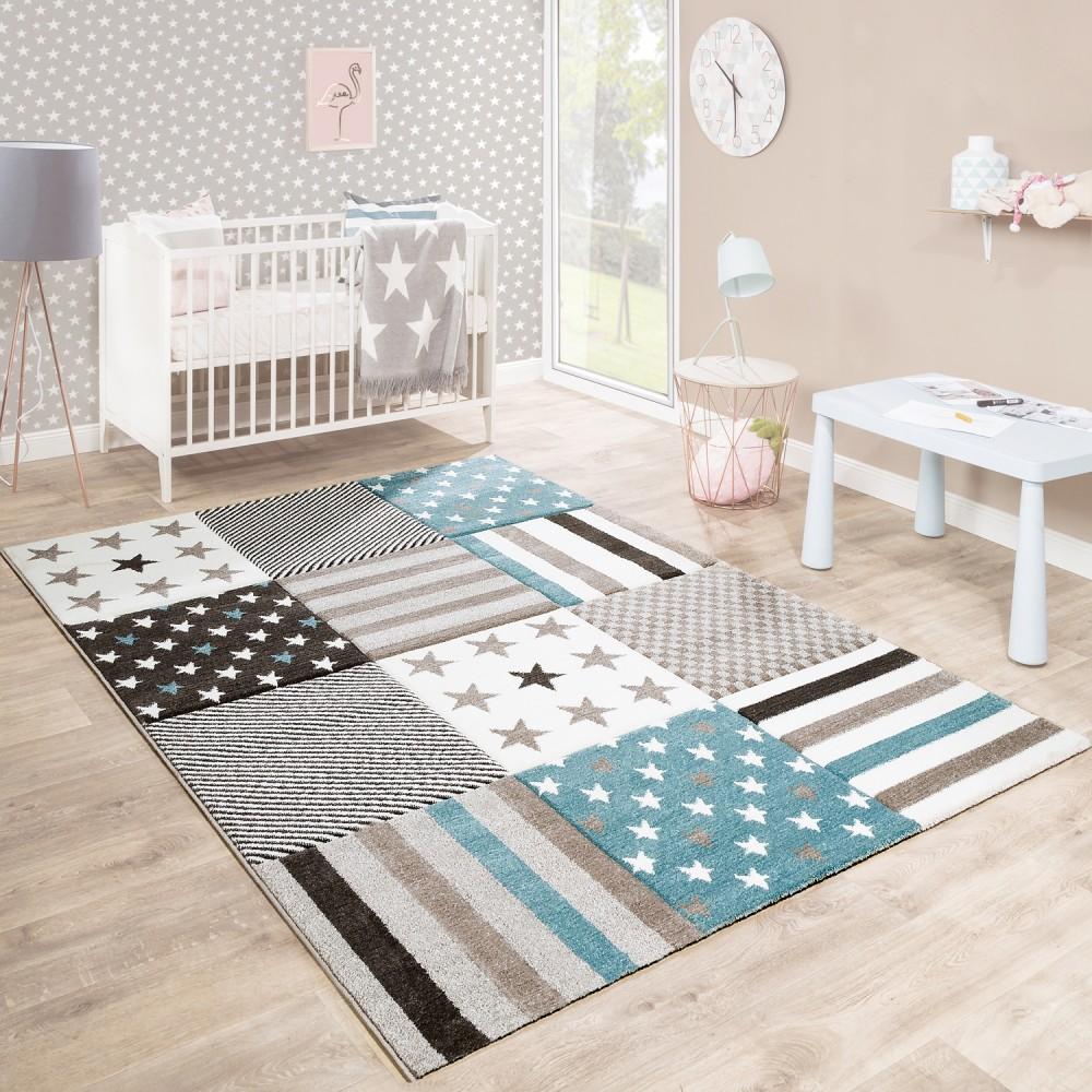 Fabelhaft Kinderteppich Foto Von Kinderzimmer Konturenschnitt Stern Muster Beige Creme Pastellfarben