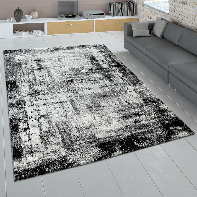 Wohnzimmer Teppich Grau Anthrazit Kurzflor Used Look Gemalde Abstraktes Design