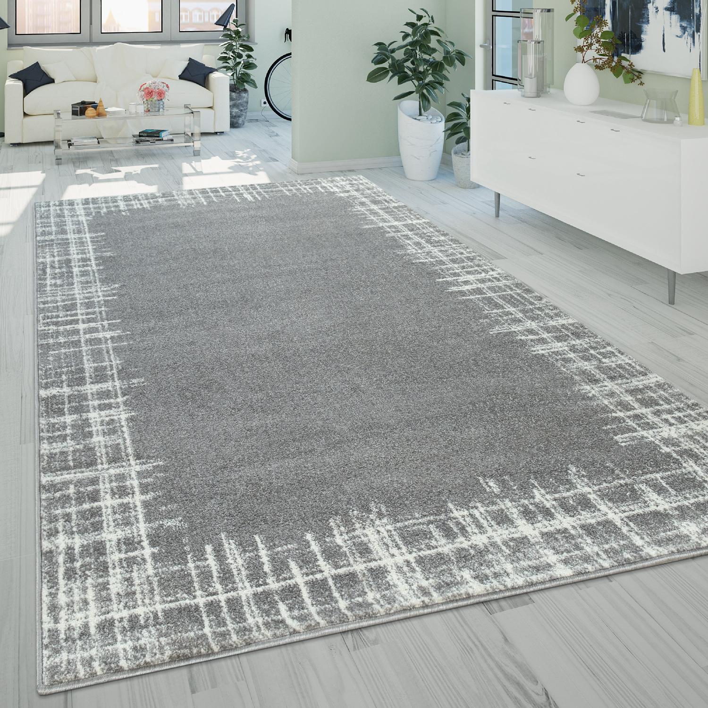 Kurzflor Wohnzimmer Teppich Modern Used Look Bordüre Abstraktes Design In  Grau