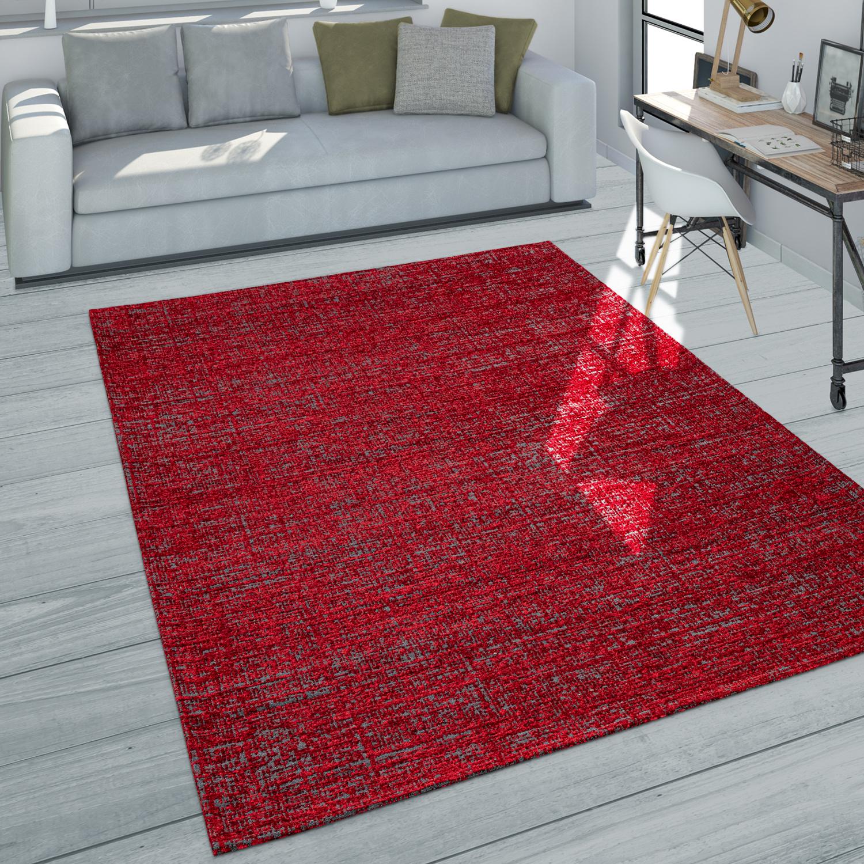 Teppich Wohnzimmer Kurzflor Modernes Meliertes Design In Dunkelgrau Rot Grau Kaufen Bei Diva Teppich Center