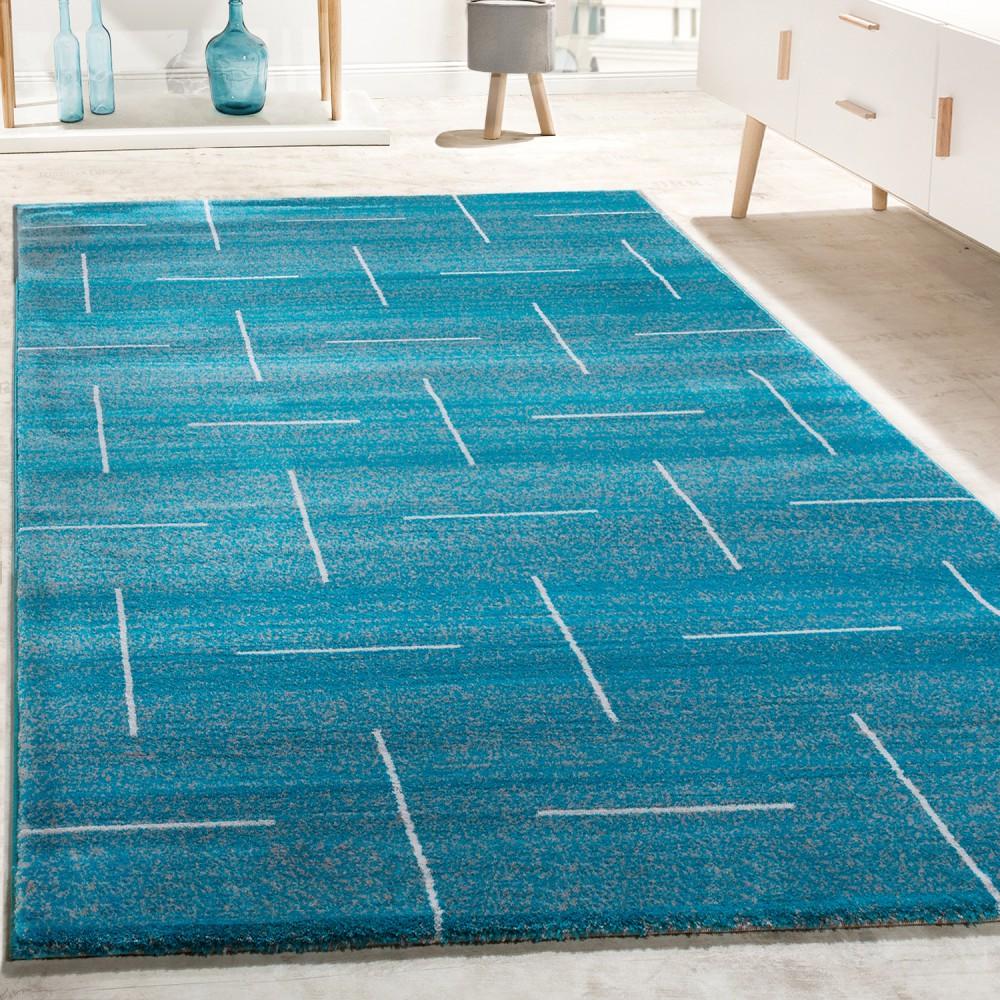Designer Teppich Wohnzimmer Modernes Design In Türkis Grau Meliert 1 ...