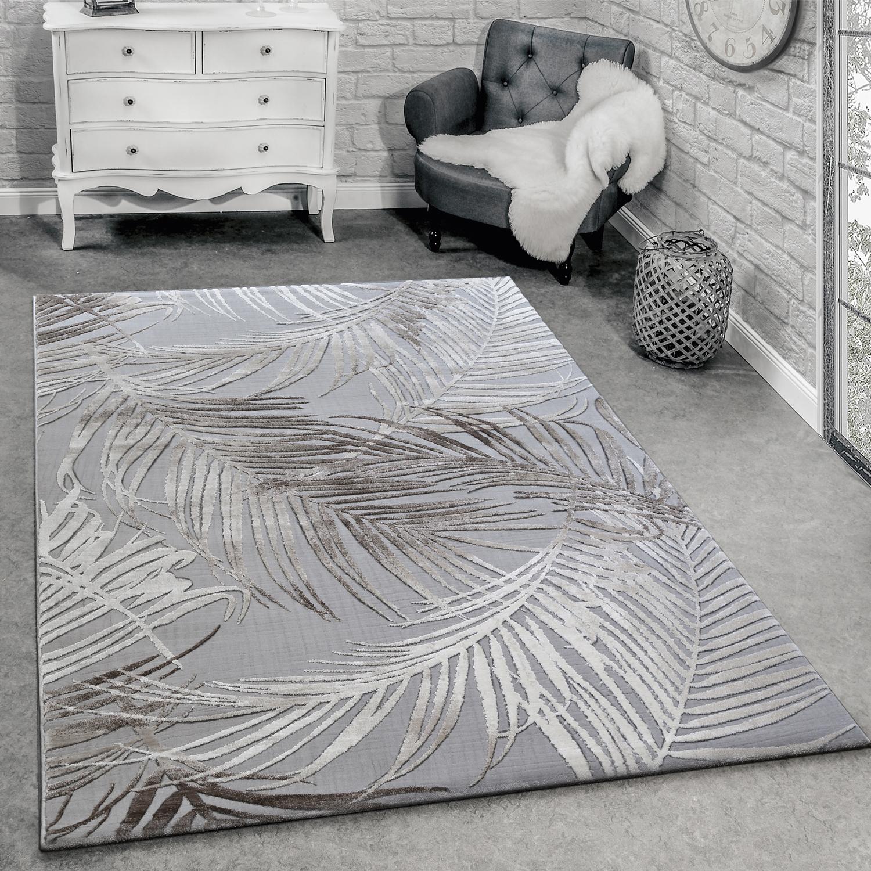 Designer Teppich Modern Wohnzimmer Teppiche 3D Palmen Muster In Grau Beige  Creme 1 ...
