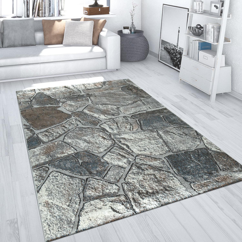 Teppich Wohnzimmer Grau Robust Gestein Design Fels Muster 3-D Optik Kurzflor