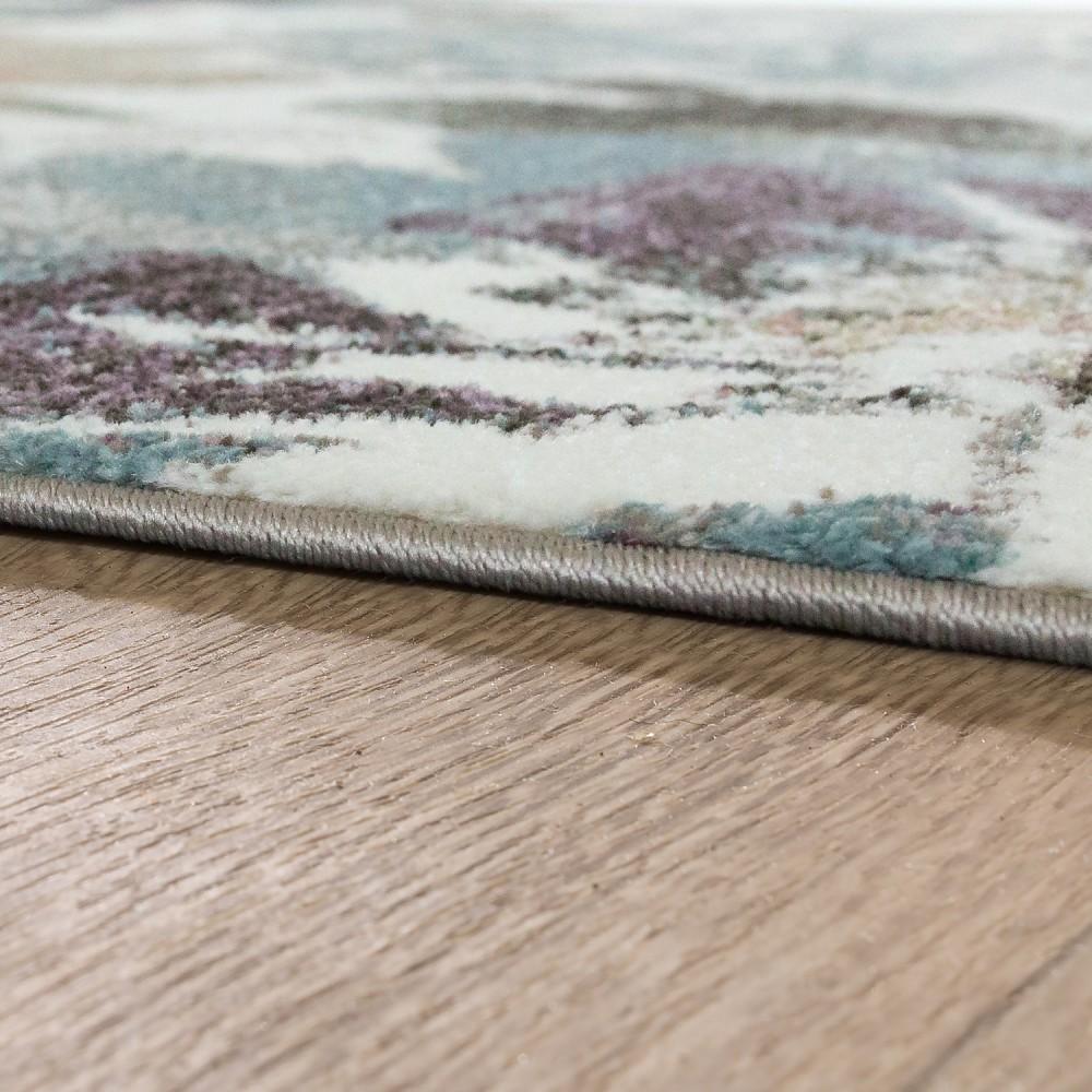 Designer Teppich Modern Wohnzimmer Blumen Muster Pastell Töne In ...