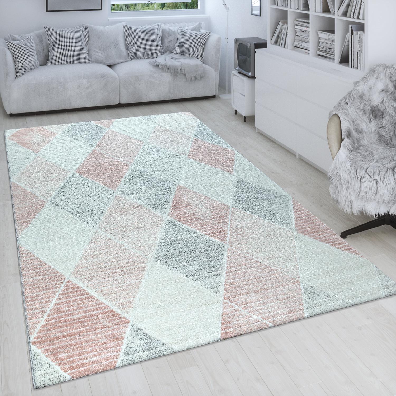 Kurzflor Teppich Bunt Weich Wohnzimmer 3-D Design Mosaik Wellen Muster Retro