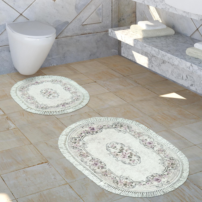 Teppich Badezimmer.Badezimmer Teppich Set Ornamente Waschbar Gemütlich Badvorleger In Altrosa Creme