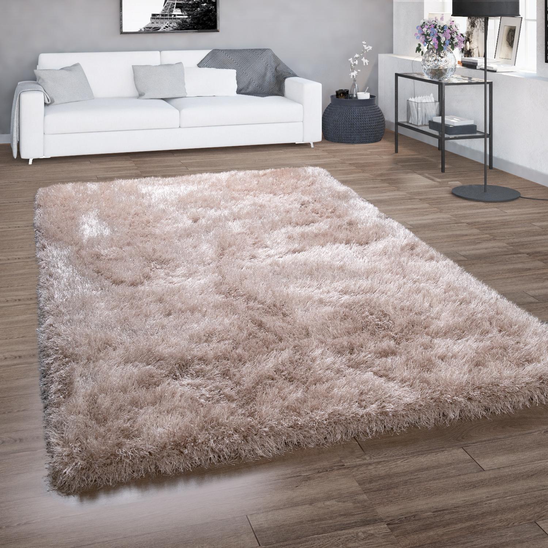 Hochflor Teppich Shaggy Fur Wohnzimmer Mit Glitzer Garn Einfarbig In Beige Kaufen Bei Diva Teppich Center