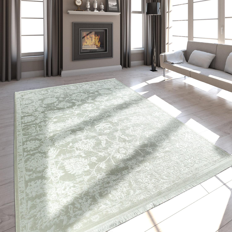 Wohnzimmer Teppiche | Hochwertiger Wohnzimmer Teppich Moderne Satin Optik Barock Design