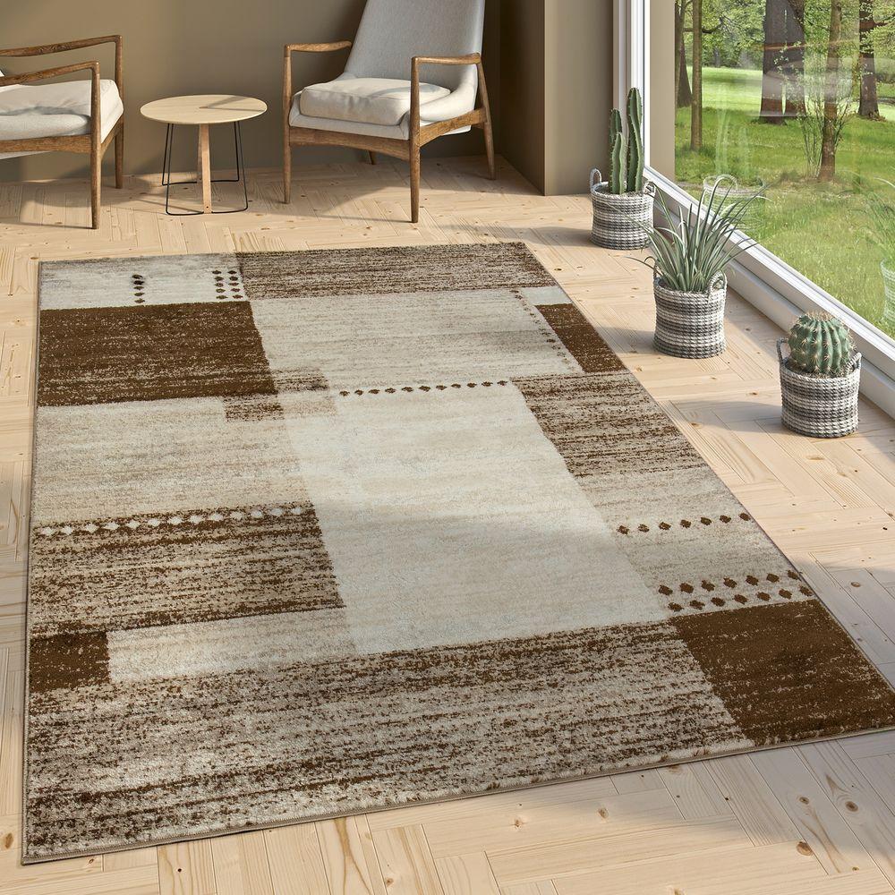 Fantastisch Designer Teppich Kurzflor Wohnzimmer Meliert Karo Muster In Braun Beige  Creme 1 ...