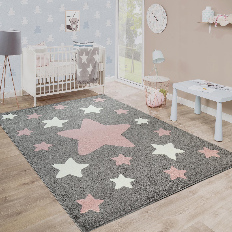 Teppich Kinderzimmer Kinderteppich Große Und Kleine Sterne In Grau ...