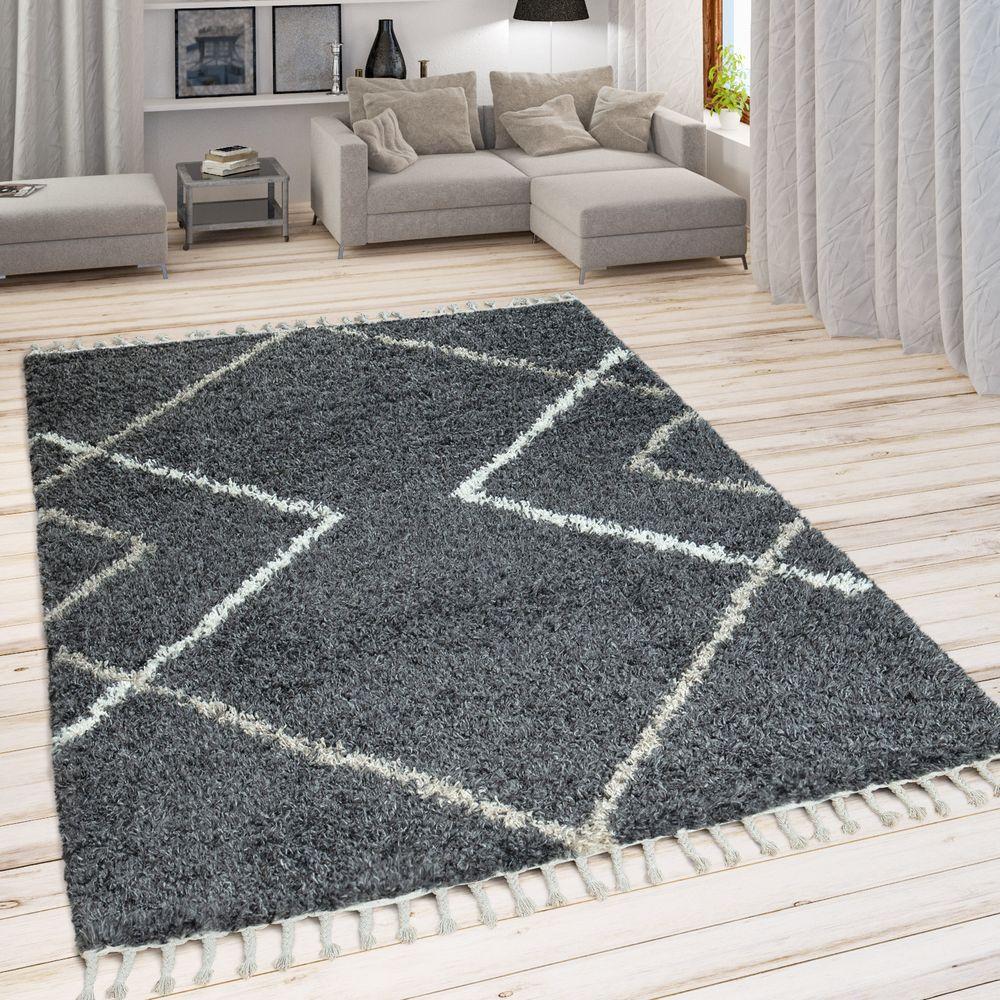 Teppich Wohnzimmer Grau Anthrazit Hochflor Rauten Design Skandi Look Shaggy