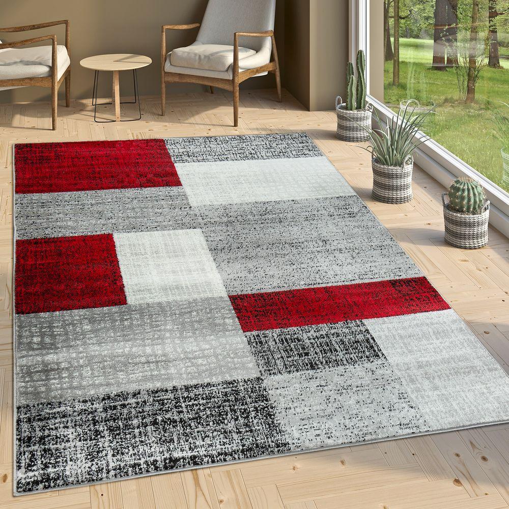 Designer Wohnzimmer Teppich Modern Kurzflor Karo Design Rot Grau Weiß 1 ...
