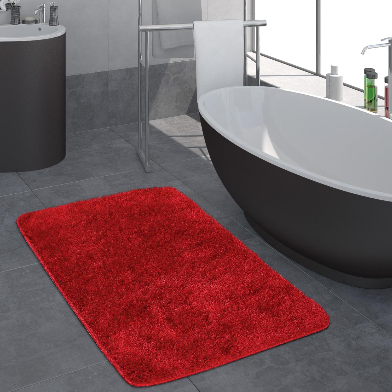 Moderner Hochflor Badezimmer Teppich Einfarbig Badematte Rutschfest