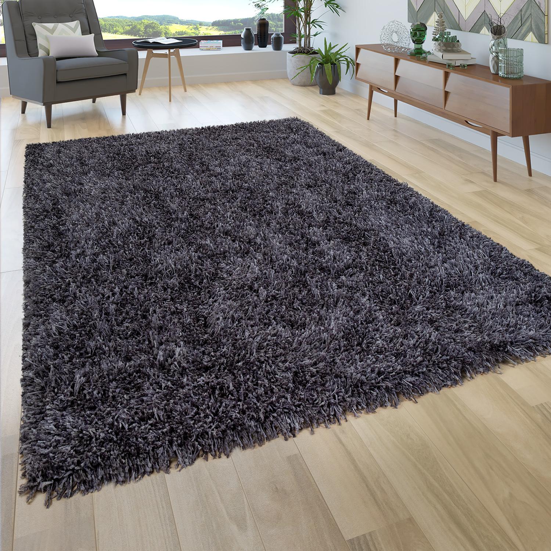 Hochflor Teppich Wohnzimmer Shaggy, Dunkel Grau Blau