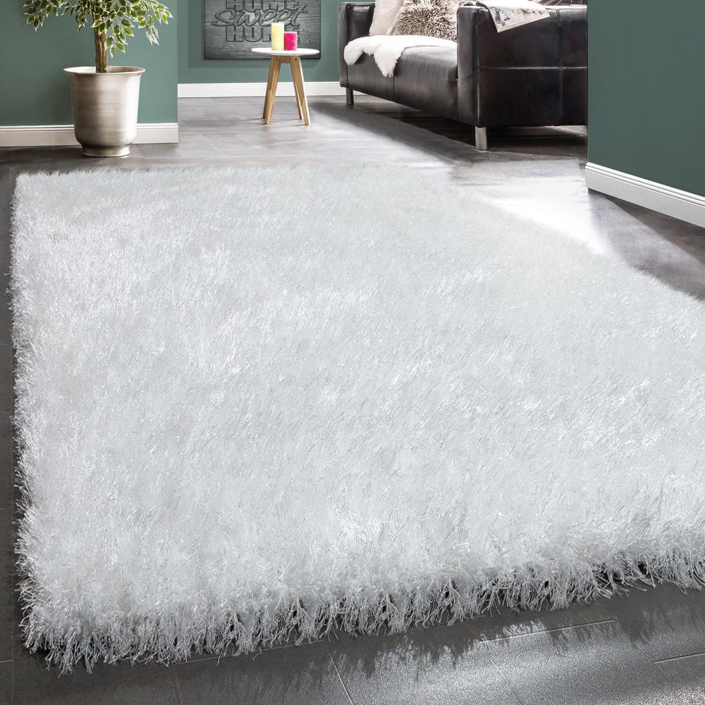 Moderner Wohnzimmer Shaggy Hochflor Teppich Soft Garn In Uni Weiß