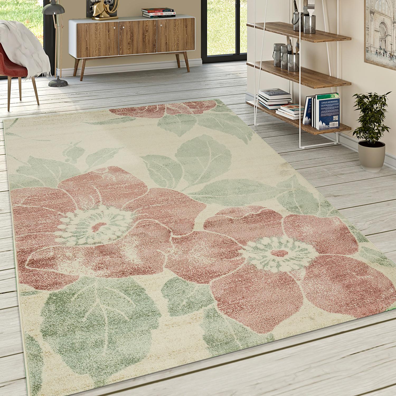 Designer teppich wohnzimmer kurzflor modern florales for Teppich wohnzimmer modern