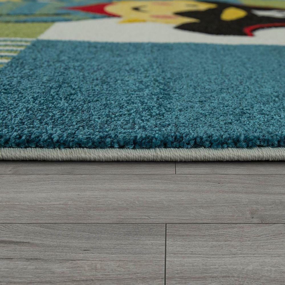 moderner kinderzimmer teppich im piraten look mit karo. Black Bedroom Furniture Sets. Home Design Ideas