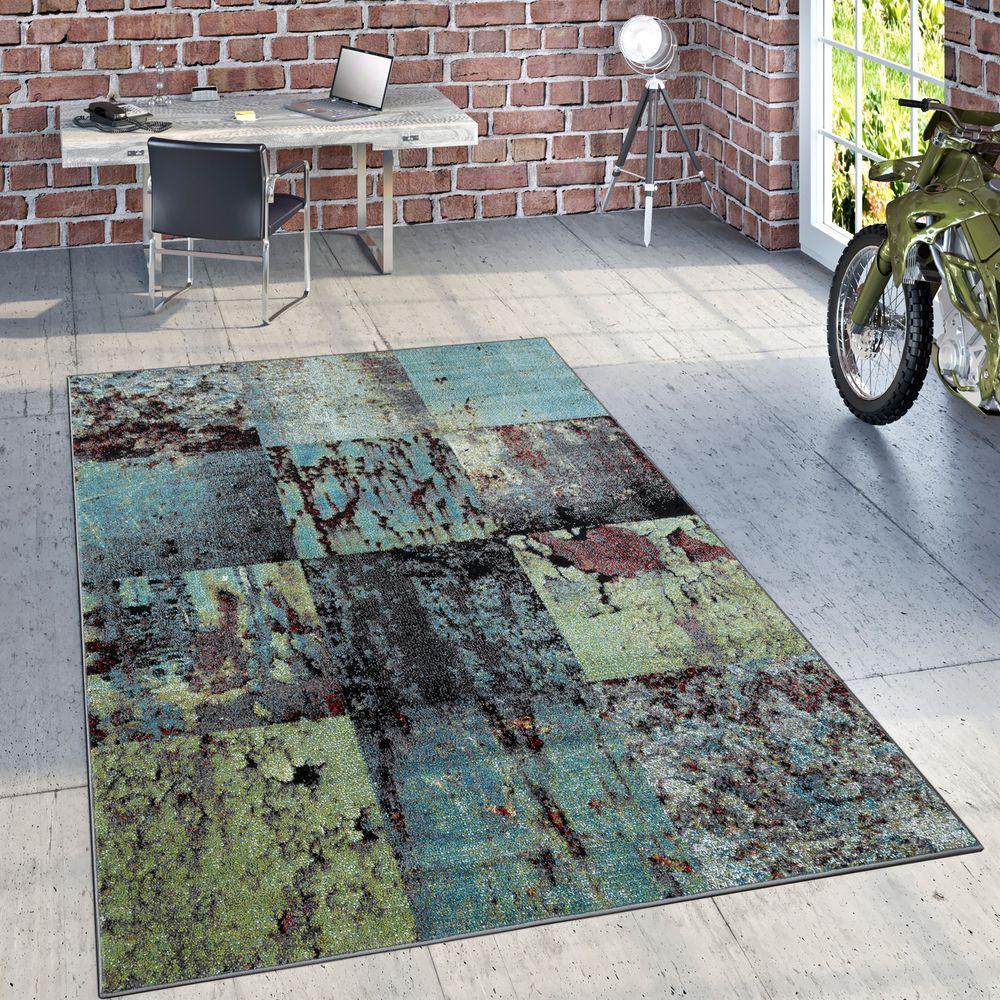 Designer Teppich Modern Wohnzimmer Ölgemälde Abstrakt Rost Optik In Grün  Schwarz 1 ...