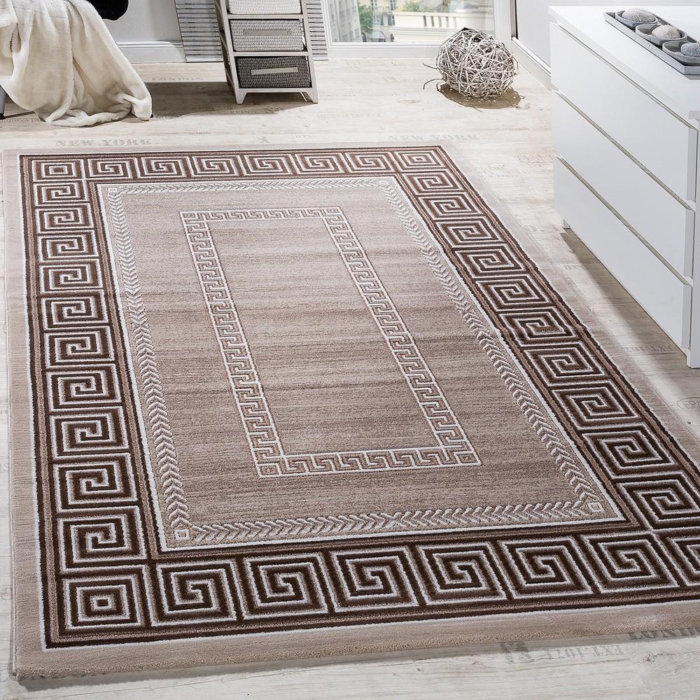 Teppich Wohnzimmer Bordüre Ornament Muster Abstrakt Design Meliert ...