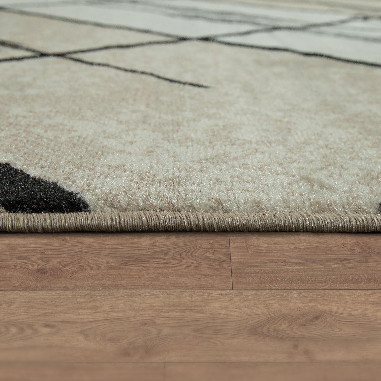 Wohnzimmer Braun Creme 2 | Designer Wohnzimmer Teppich Modern Kurzflor Geometrische Muster