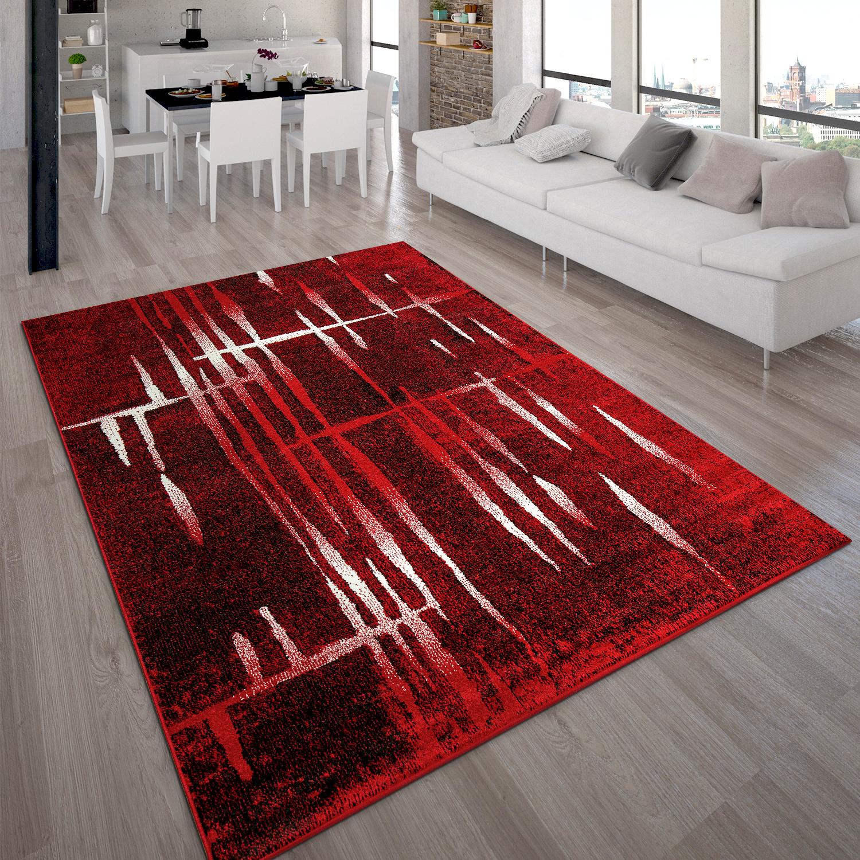 Designer Teppich Modern Trendiger Kurzflor Teppich In Rot Creme