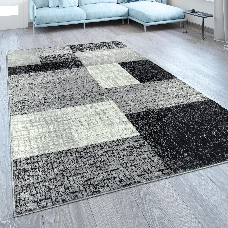Designer Wohnzimmer Teppich Modern Kurzflor Karo Design Grau Schwarz Weiß