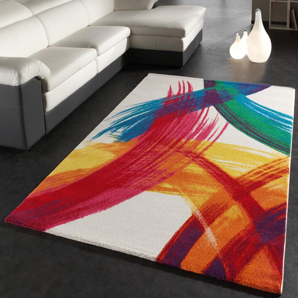 Schon Teppich Modern Bunt Teppich Splash Brush Leinwand Optik Creme Grün Blau Rot  Gelb 1 ...