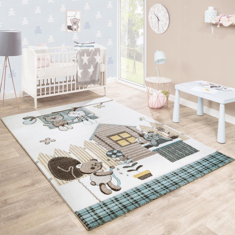 Kinderteppich Kinderzimmer Konturenschnitt Bären Design Creme Braun  Pastellfarben 1 ...