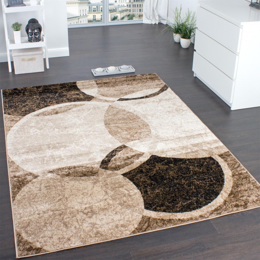 Designer Teppich Wohnzimmer Teppich Kreis Muster in Braun Beige ...