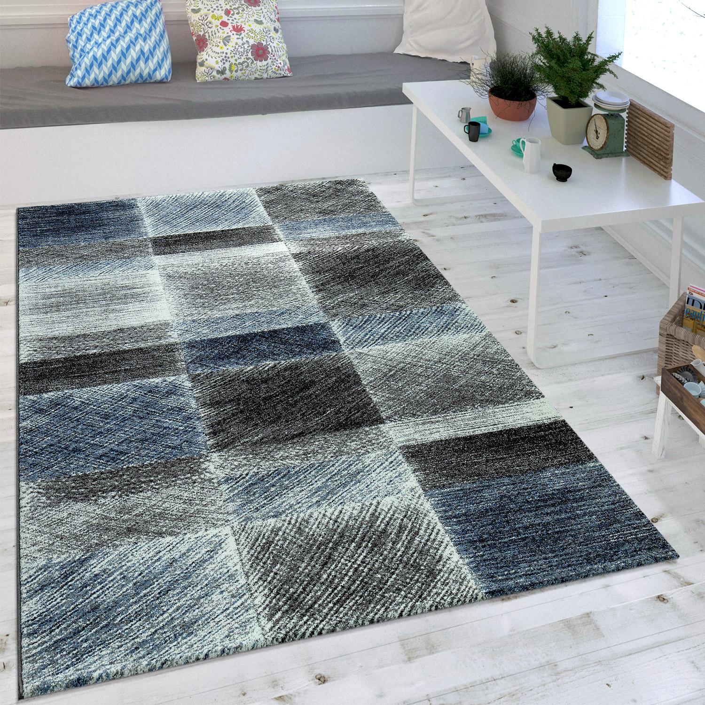 Wohnzimmer teppich indigo blau grau trend vintage design mit karo muster kaufen bei diva - Wohnzimmer blau grau ...