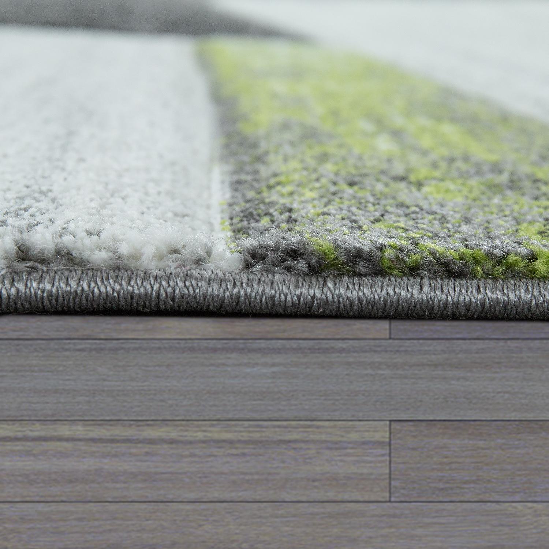 designer teppich modern konturenschnitt geometrisches muster grau grn 2 - Teppich Geometrisches Muster