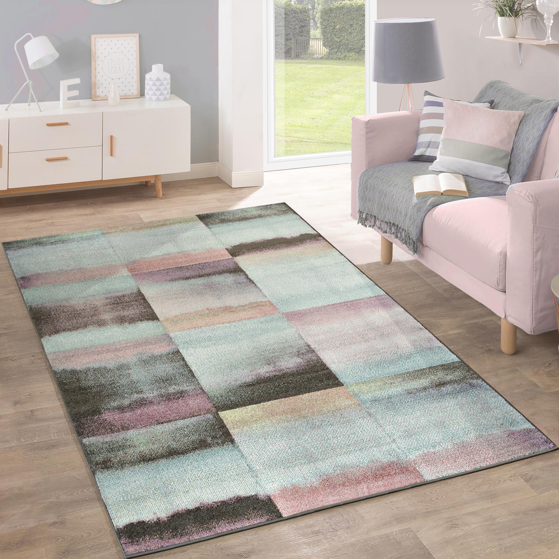 Designer Teppich Modern Wohnzimmer Farbverlauf Karo Muster Pastell ...
