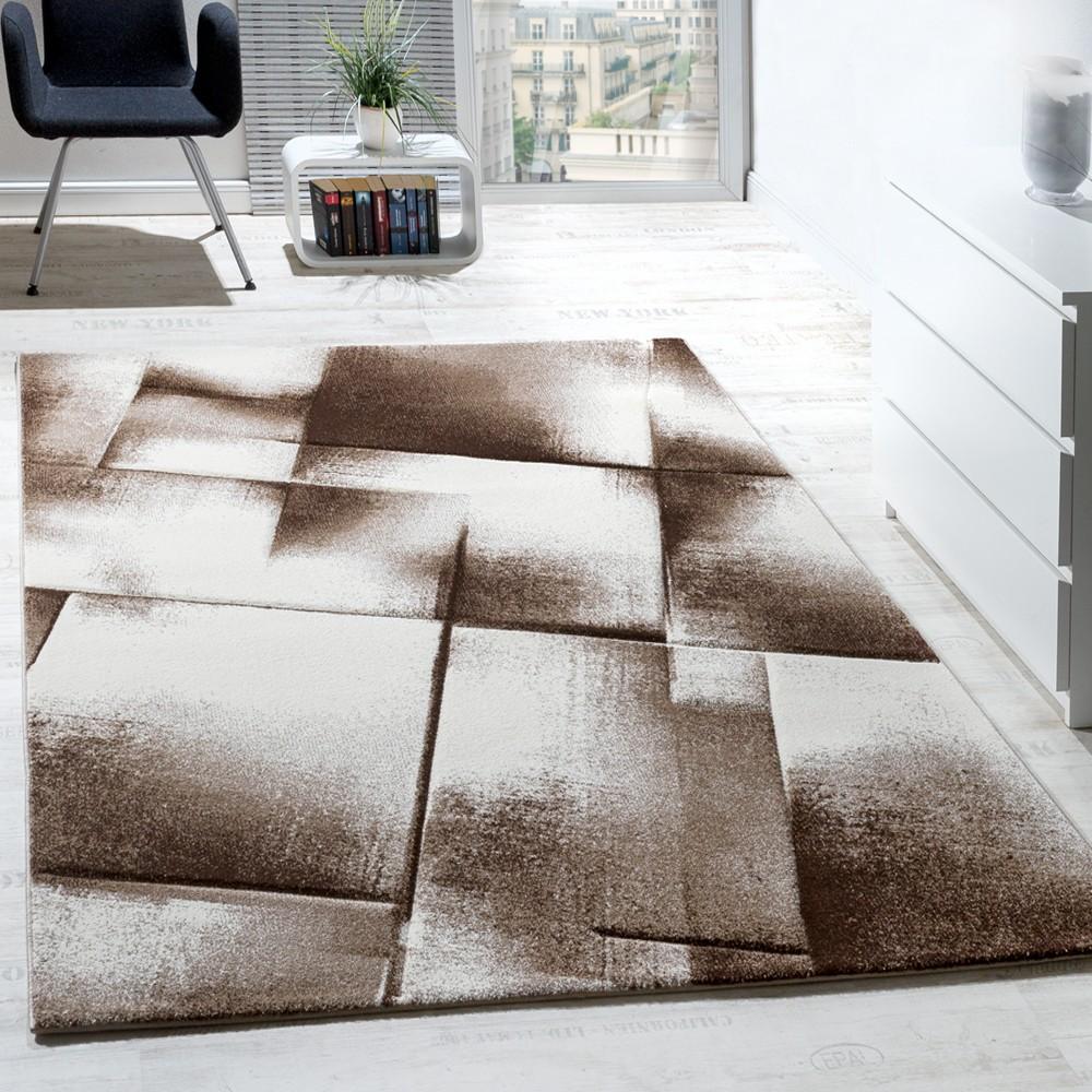 Designer Teppich Modern Wohnzimmer Teppiche Kurzflor Meliert Braun Creme  Beige 1 ...