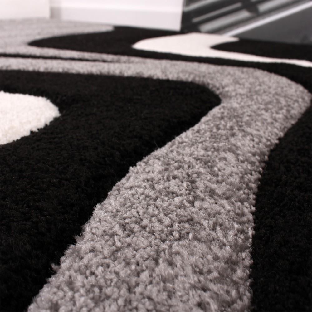 ... Bettumrandung Läufer Teppich Trendig Modern Grau Schwarz Weiss  Läuferset 3Tlg 2 ...