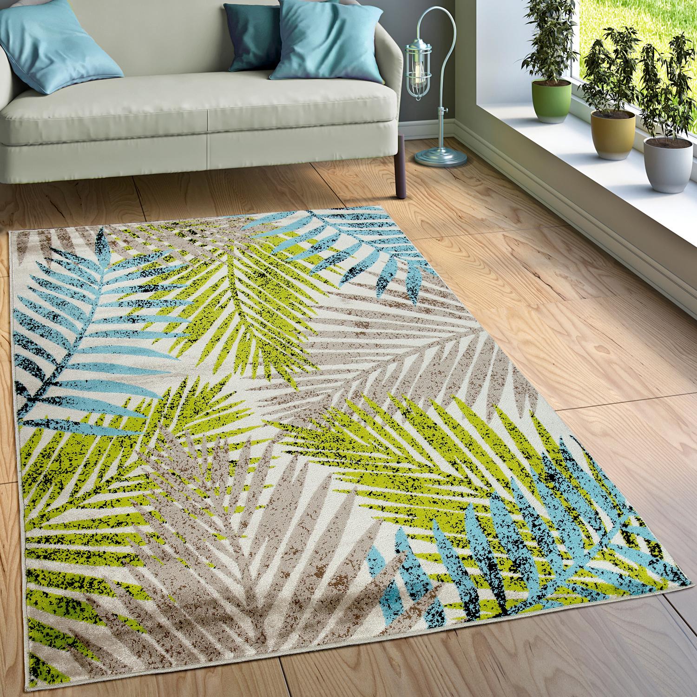 Designer Teppich Wohnzimmer Urban Jungle Palmen Design Braun Beige