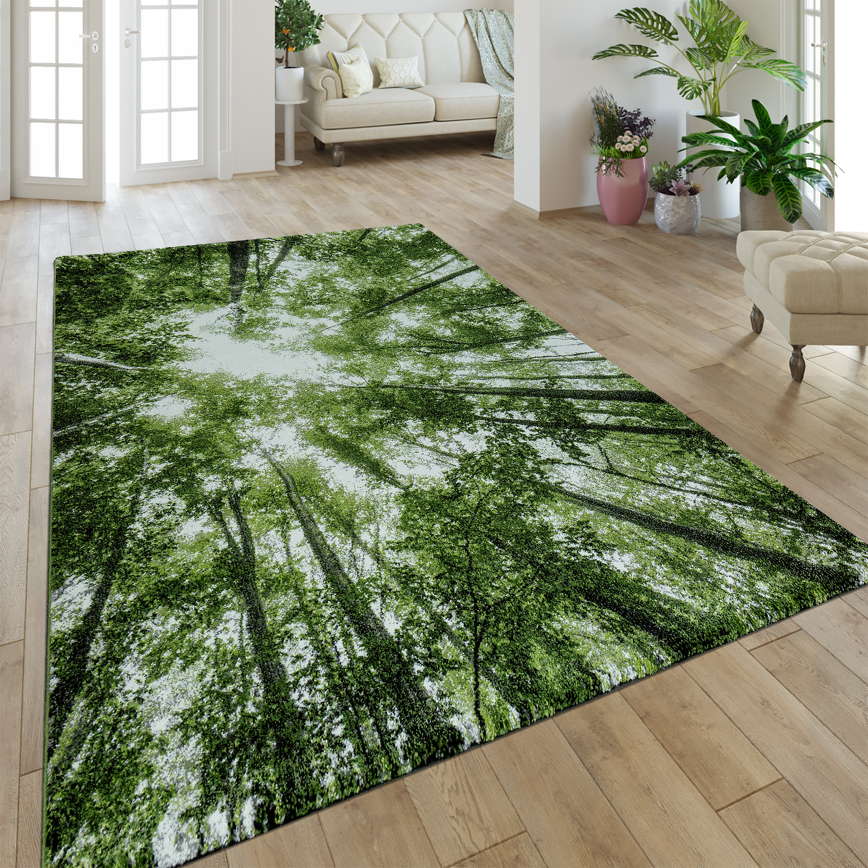 Moderner Kurzflor Teppich Greenery Natur Look Wald Optik Grun Weiss