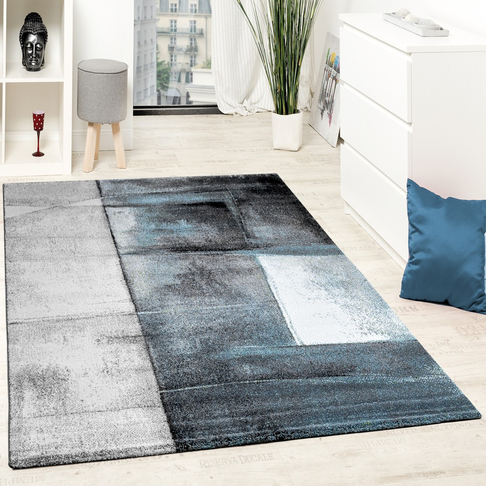 Designer Teppich Modern Kurzflor Wohnzimmer Trendig Meliert Türkis ...