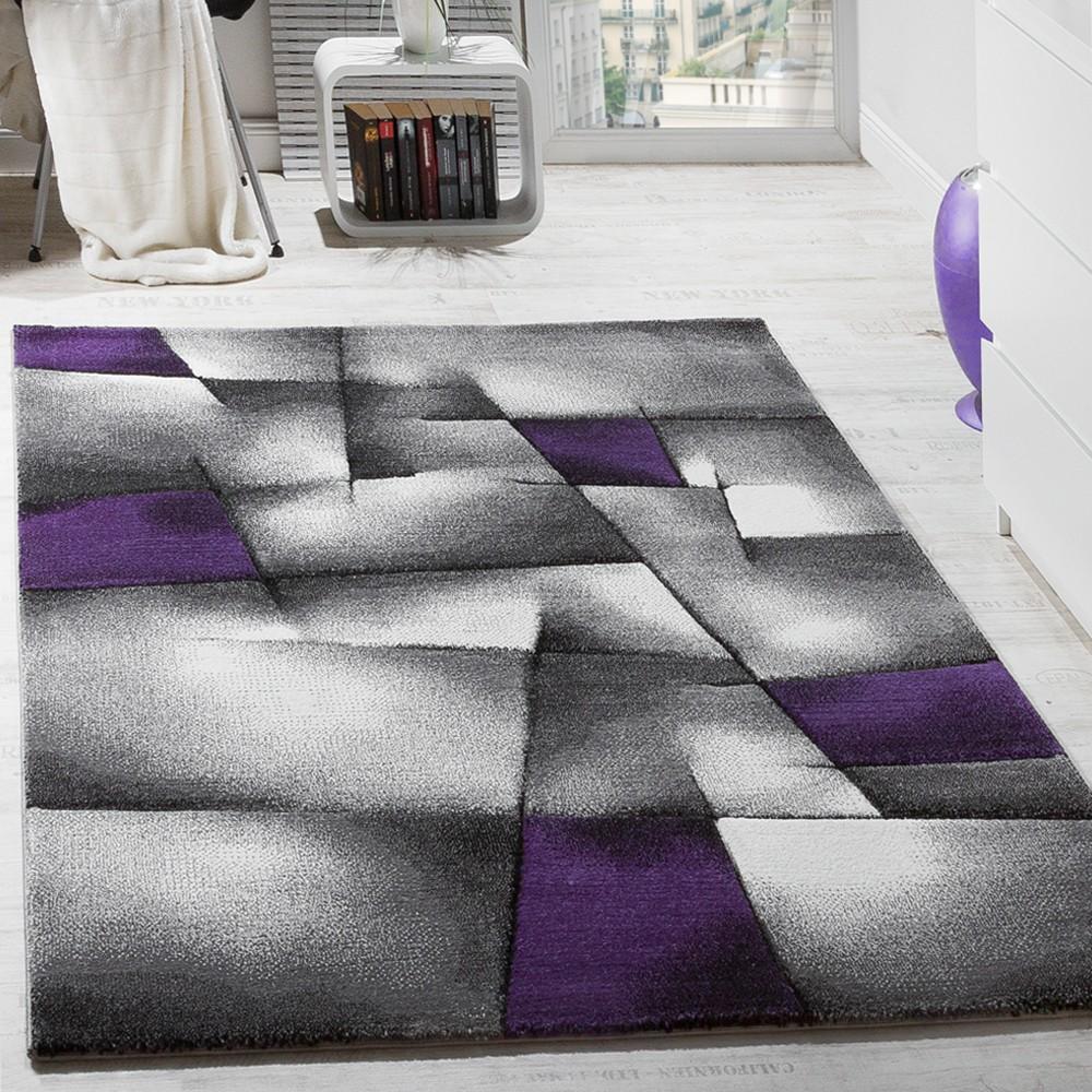 Designer Teppich Modern Kariert Handgefertigt Konturenschnitt Lila