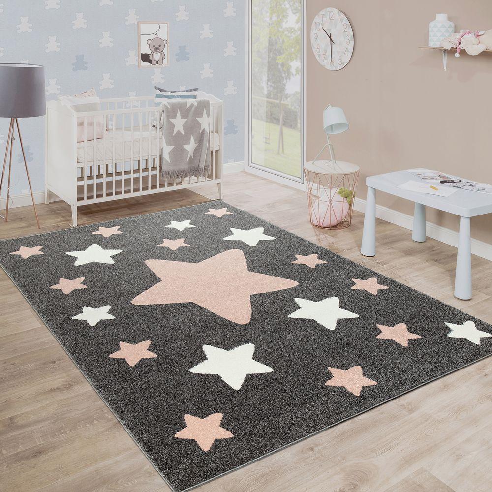 Teppich Kinderzimmer Kinderteppich Grosse Und Kleine Sterne In Grau