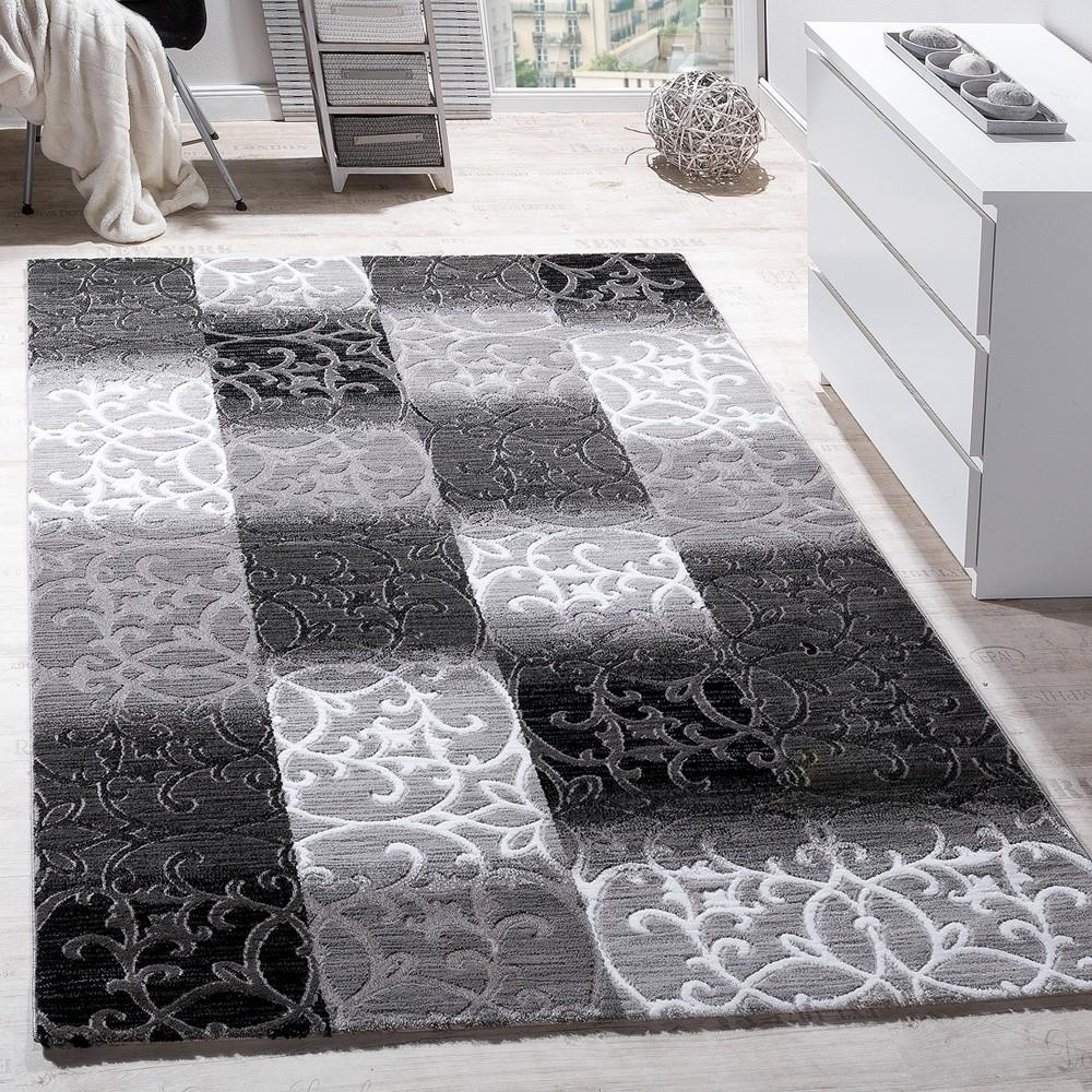 Teppich Wohnzimmer Kariert Abstrakt Ornament Design Meliert Grau Creme  Anthrazit