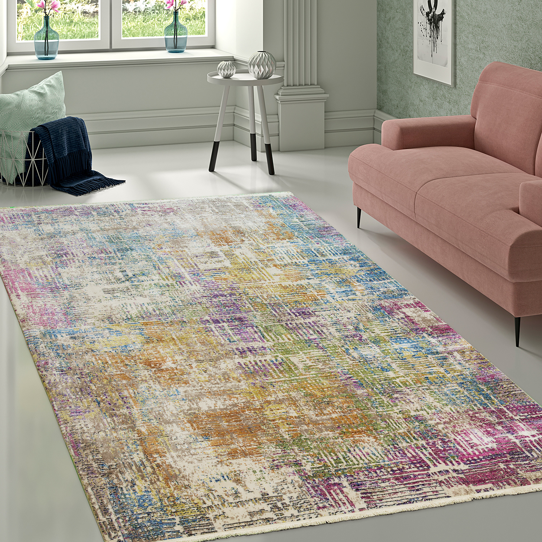 Designer Wohnzimmer Teppich Hochwertig Modern Shabby Chic Pastell Farben  Bunt 1 ...