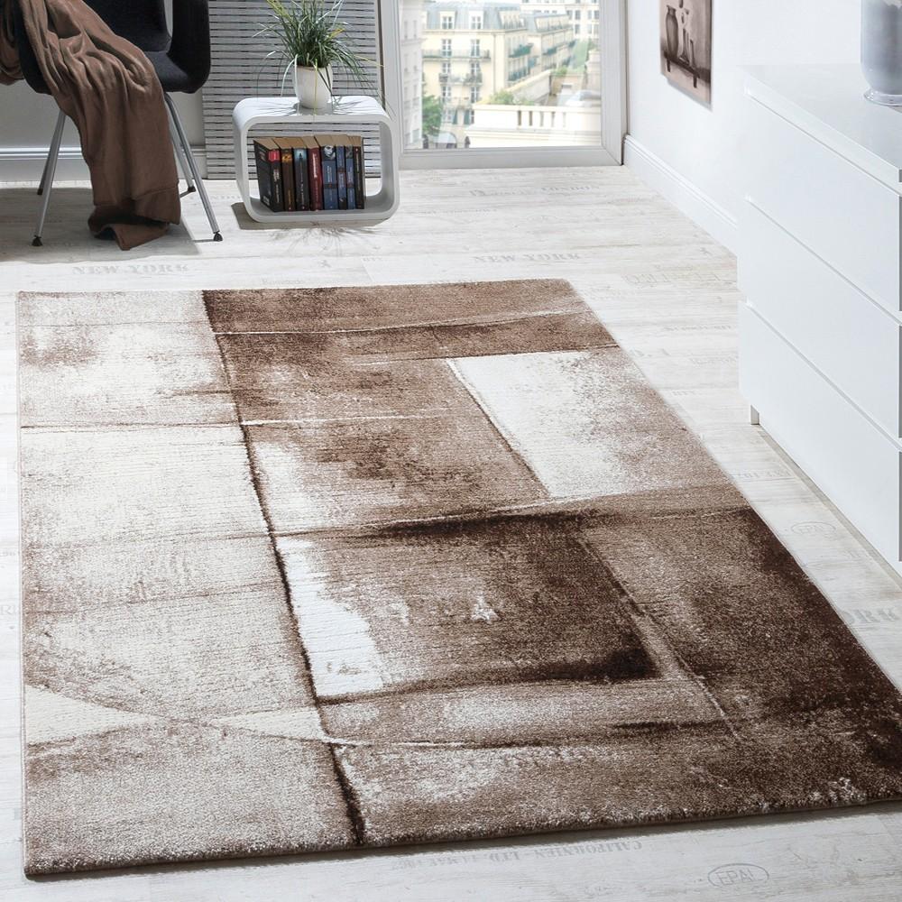 Designer Teppich Modern Kurzflor Wohnzimmer Trendig Meliert Braun Beige  Creme 1 ...