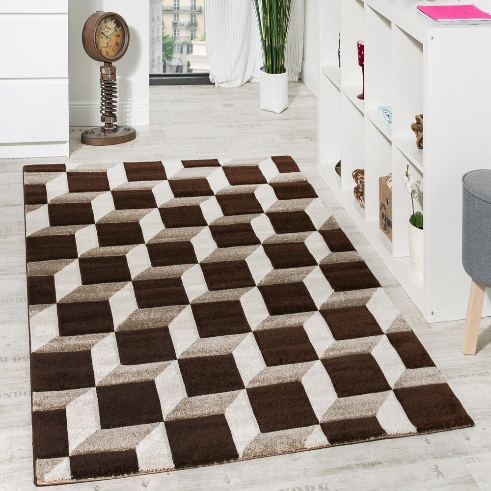Wohnzimmer Teppich Geo Design Würfel Muster Braun Creme Ausverkauf 1 ...