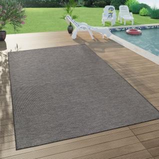 In- & Outdoor-Teppich Für Wohnzimmer, Balkon, Terrasse, Flachgewebe In Grau