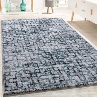 Designer Teppich Wohnzimmer Modern Kreuz Muster In Grau Schwarz ...