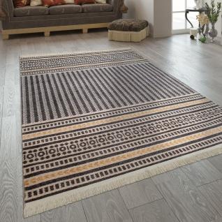 Wohnzimmer-Teppich Im Ethno-Design, Fransen, Boho-Stil, Streifen In Gelb Grau