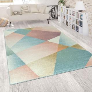 Teppich Wohnzimmer Bunt Kurzflor Abstraktes Design Linien Pastellfarben Muster