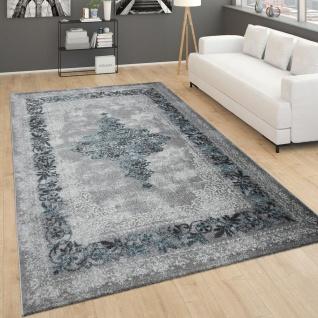 Teppich Für Wohnzimmer, Vintage-Kurzflor Mit Orient-Design, Meliert Grau Türkis